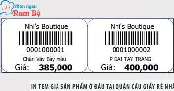 In tem giá sản phẩm ở đâu tại quận Cầu Giấy rẻ nhất?